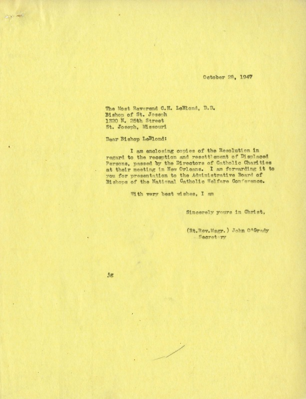 Letter from Secretary John O'Grady to Most Rev. C.H. LeBlond, October 28, 1947, with enclosed Resolution passed by the Directors of Catholic Charities at their annual meeting