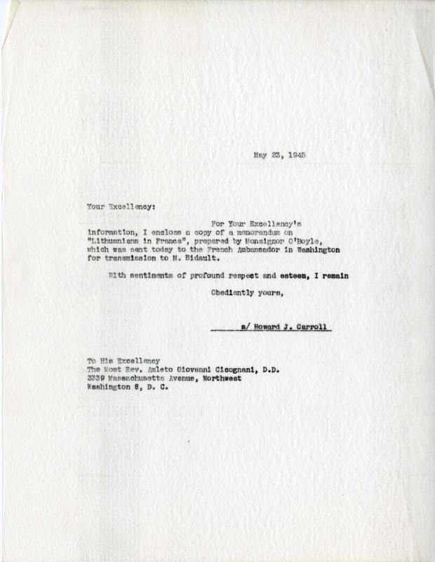 Letter from Carroll to Cicognani with attached memorandum on Lithuanian Displaced Persons in France