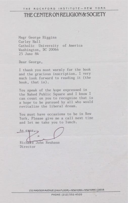 Richard Neuhaus to George Higgins 6-25-1984 (5)