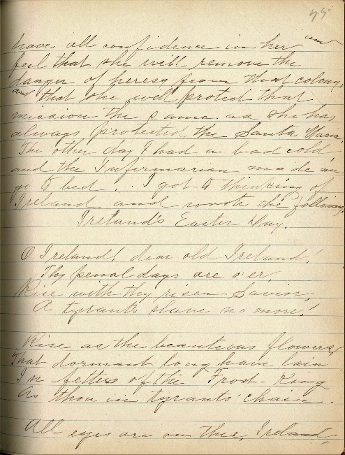 Justina Segale Journal Entry, April 3, 1919, (Document 19)