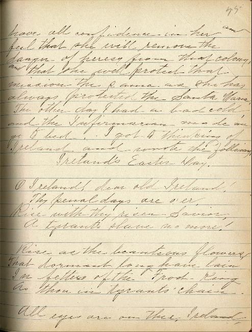 Justina Segale Journal Entry, April 3, 1919, (Document 19)