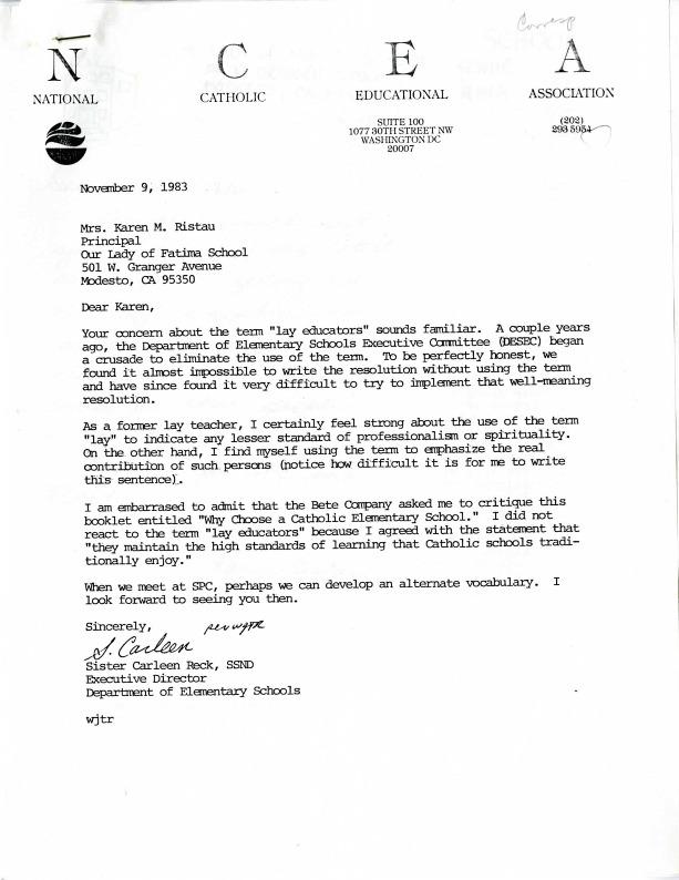 National Catholic Educational Association Letter