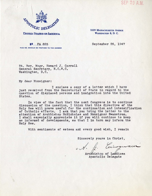 Letter from Apostolic Delegate Cicognani to General Secretary Carroll, with an enclosed letter from the Vatican Secretary of State