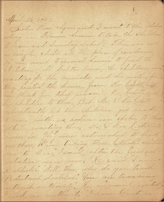 Justina Segale Journal Entry, April 26--Mary 15, 1903 (Document 10)