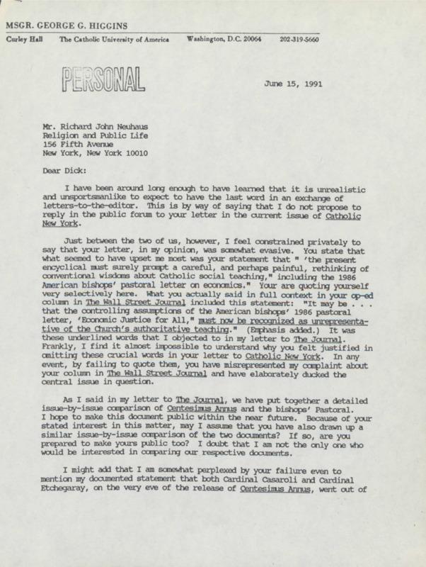 George Higgins to Richard Neuhaus, 6-15-1991 (21)
