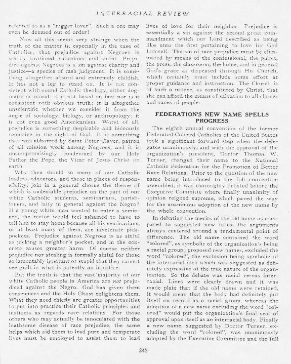 """Federation's New Name Spells Progress,"" Interracial Review, December 1932"