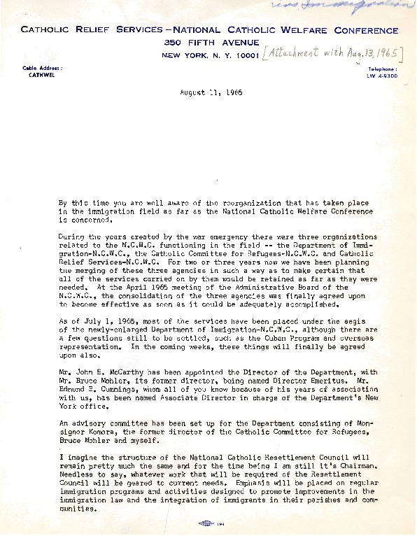 Edward Swanstrom, Memo to the staff of New York Catholic Relief Services, August 1, 1965