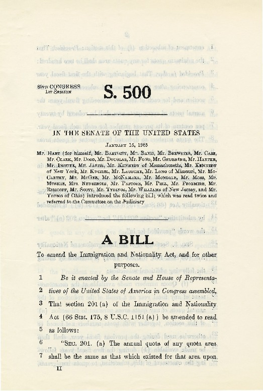 "Emmanuel Celler and Philip Hart, ""A Bill to Amend the Immigration and Nationality Act, and for other Purposes,"" 1965"