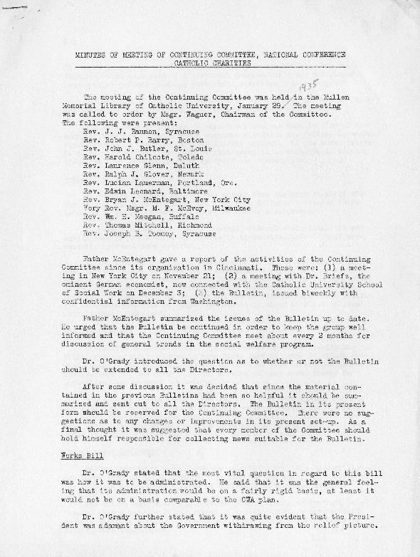 Memoranda  for Meeting of the Diocesan Directors of Catholic Charities; Minutes of the Meeting, January 29, 1935