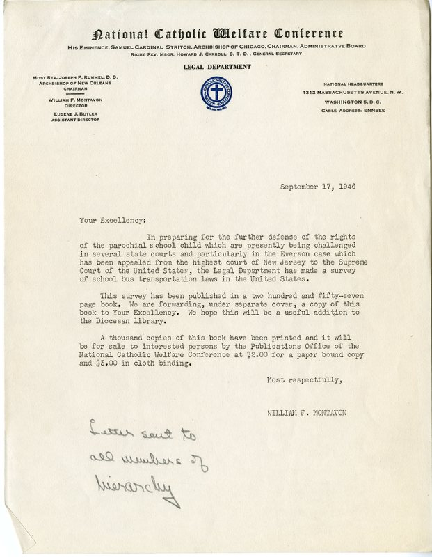 Letter from William F. Montavon to all members of hierarchy
