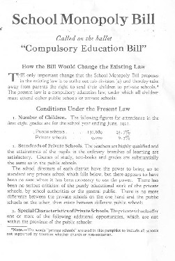 "Non-Sectarian and Protestant Schools Committee, ""School Monopoly Bill,"" ca. 1921"