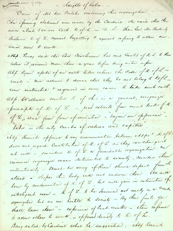 Minutes of Archbishops' Meeting to Consider Status of Certain Societies, October 28, 1886