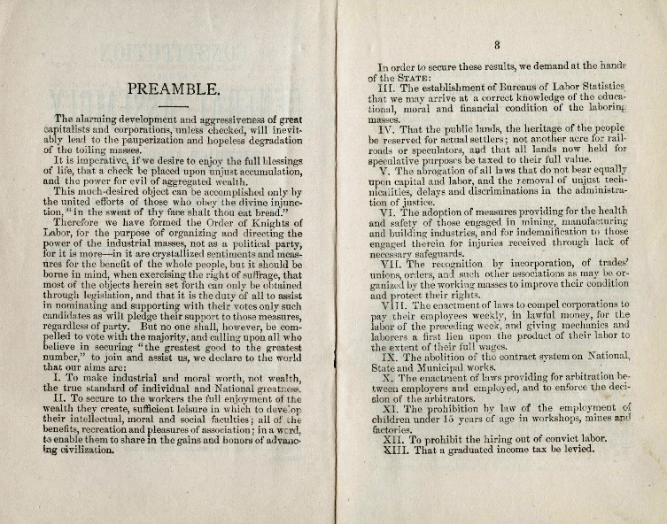 Preamble of the Constitution of the Knights of Labor, 1885