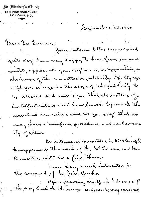 """John Markoe, """"Letter to Thomas W. Turner,"""" September 23, 1932"""
