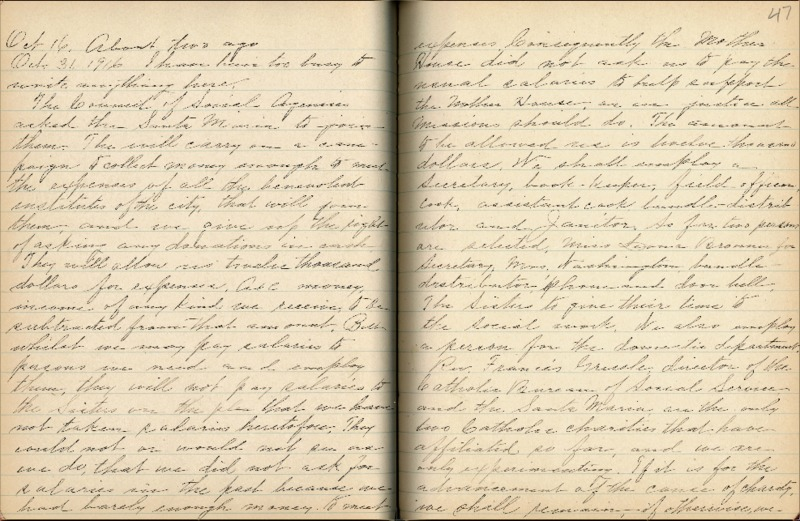 Justina Segale Journal Entry, October 31, 1916  (Document 14)