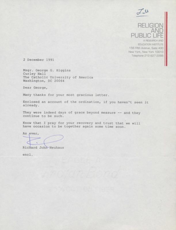 Richard Neuhaus to George Higgins, 12-2-1991 (25)