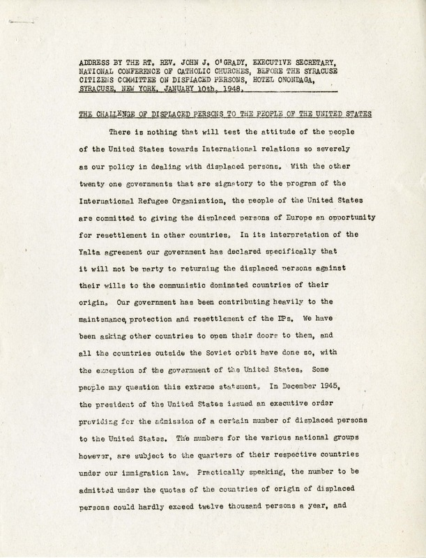 Address on Displaced Persons by Rev. John J. O'Grady, Executive Secretary of the NCCC, before the Syracuse Citizens Committee on Displaced Persons, January 10, 1948