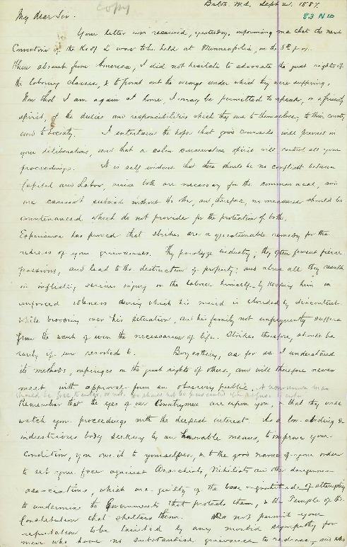 Letter to T.V. Powderly, September 21, 1887