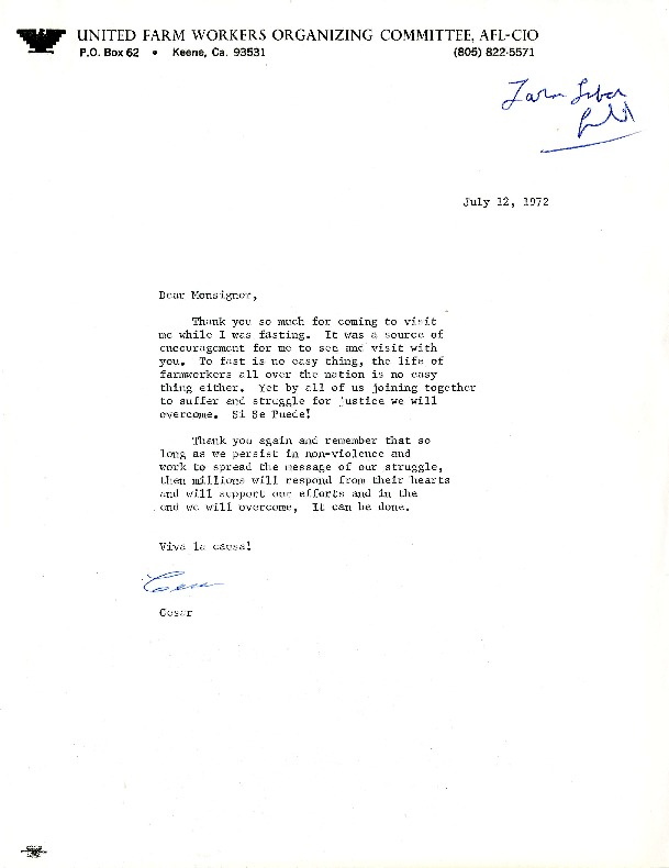 Letter from Cesar Chavez to Monsignor Higgins, July 1972