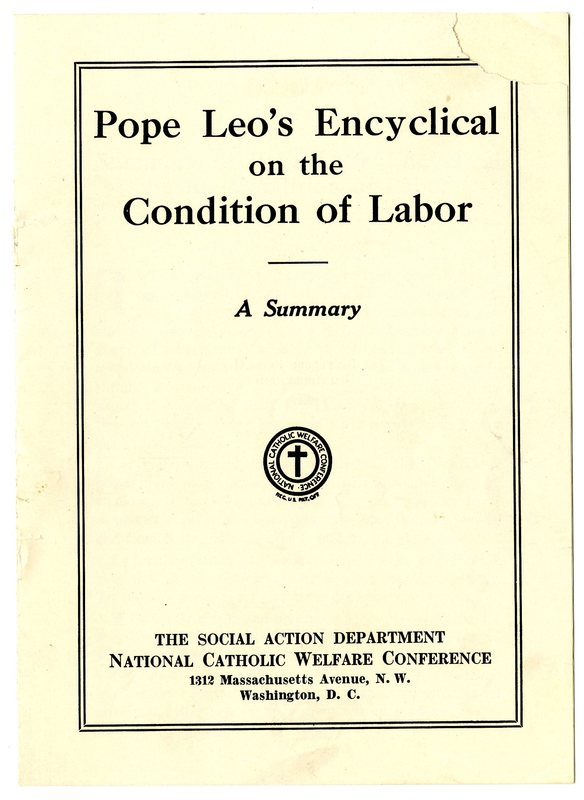 Summary of Pope Leo's Encyclical on the Condition of Labor