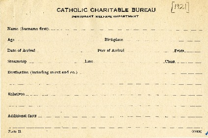"""Forms for Immigrant Entry,"" Catholic Charitable Bureau of Boston, 1921"