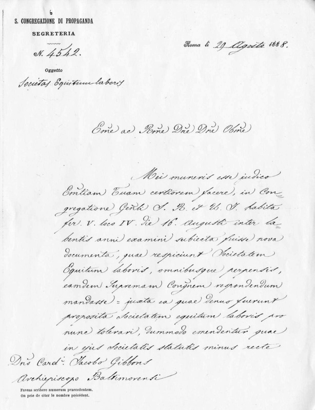 Letter to James Cardinal Gibbons, August 29, 1888