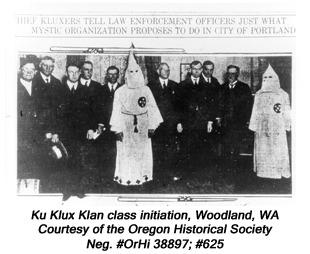 Klu Klux Klan class initiation, Woodland, WA