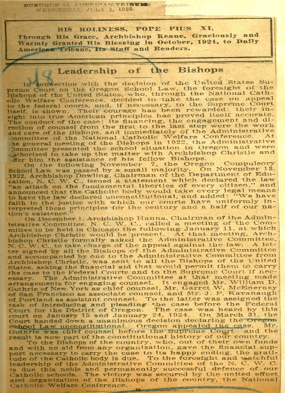 """Leadership of the Bishops,"" July 1, 1925"