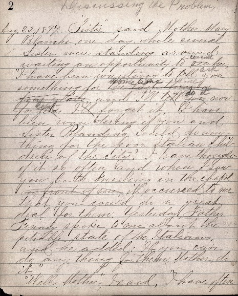 Justina Segale Journal Entry, August 22, 1897 and  September 1, 1897 (Document 7)