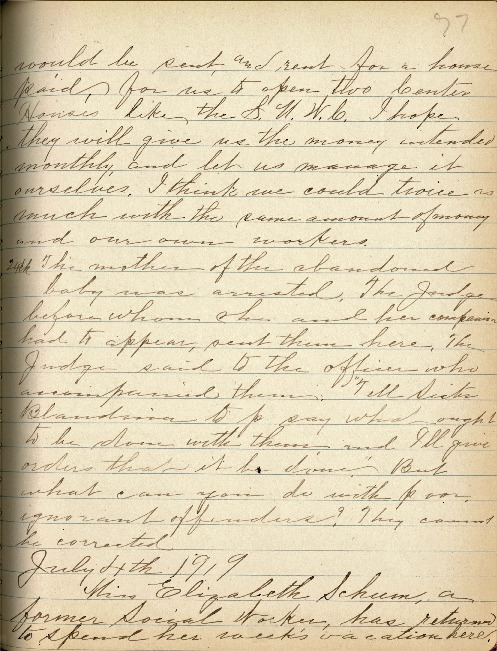 Justina Segale Journal Entry, July 4 and 7, 1919  (Document 20)