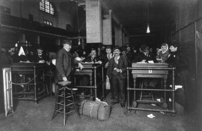 Final discharge station for immigrants at Ellis Island, 1902