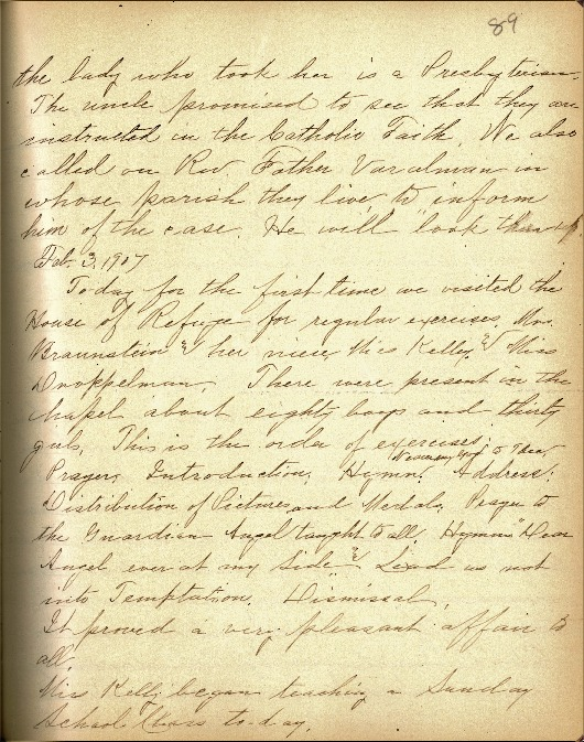 Justina Segale Journal Entry, February 3-28, 1907  (Document 13)