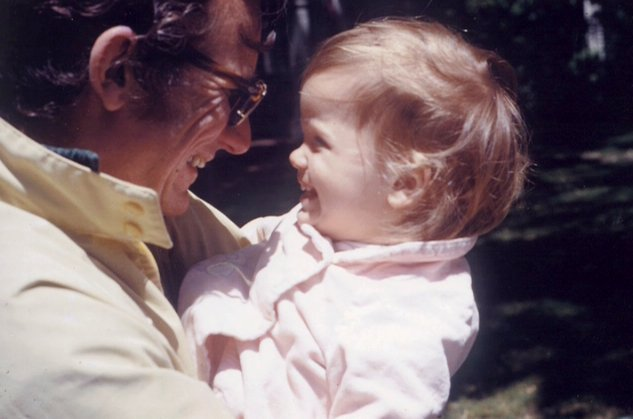Berry Reece and youngest daughter Charlotte in front of their home in Winchester, Massachusetts, shortly after Berry began working for Houghton Mifflin Co., ca. 1972