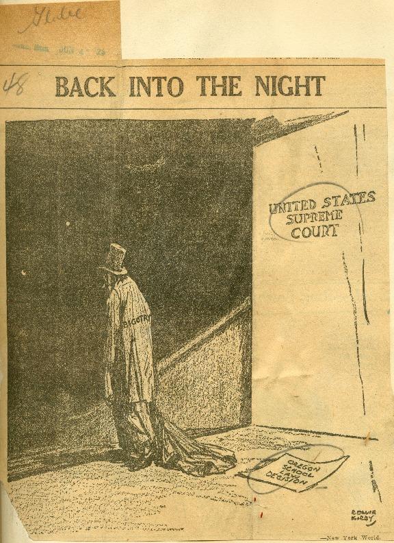 """Back Into the Night"" Editorial cartoon, June 4, 1925"