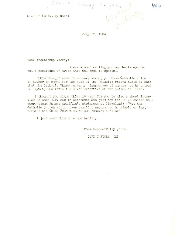 Letter to Archbishop Edward Mooney, July 17, 1936