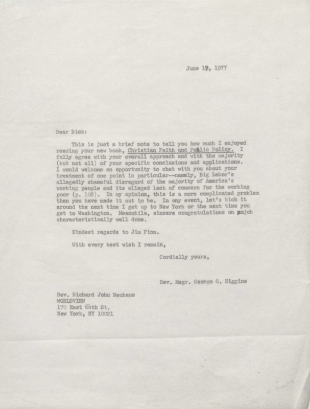 George Higgins to Richard Neuhaus 6-17-1977 (1)