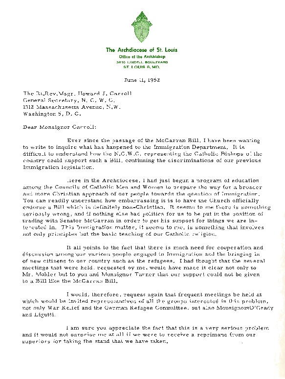 Letter from Archbishop Joseph E. Ritter to Msgr. Howard J. Carroll, June 11, 1952; Reply by Msgr. Paul Tanner, June 23, 1952