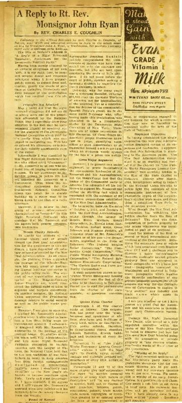 """A Reply to Right Rev. Monsignor John Ryan,"" 1936"