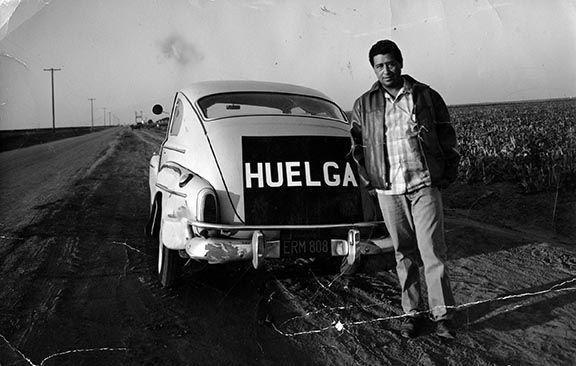 "Chavez with ""Huelga"" car"