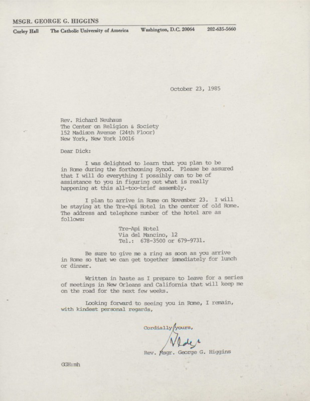 George Higgins to Richard Neuhaus 10-23-1985 (7)