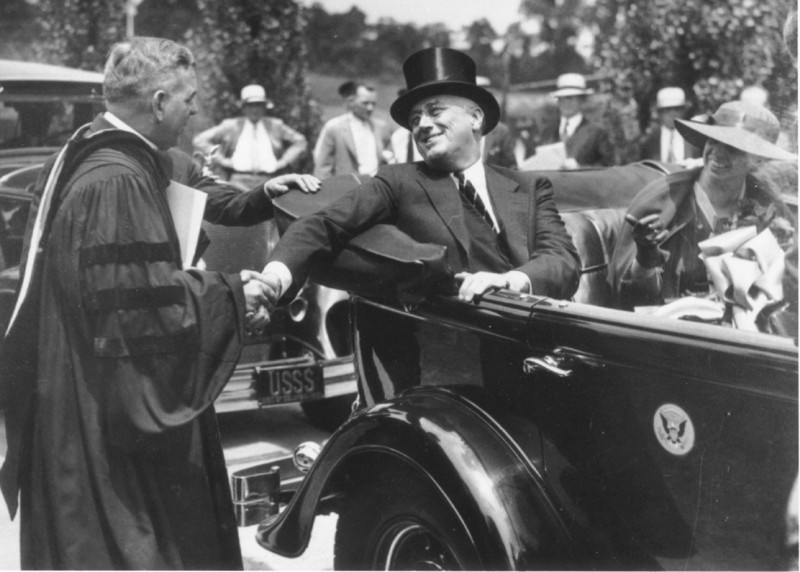 Father James Hugh Ryan and President Franklin Roosevelt at The Catholic University of America, 1933