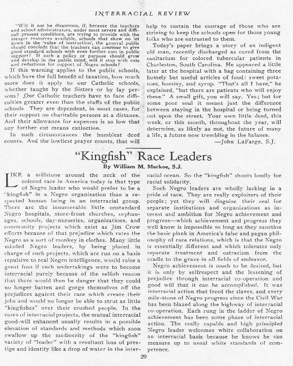 """'Kingfish' Race Leaders,"" Interracial Review, February 1933"