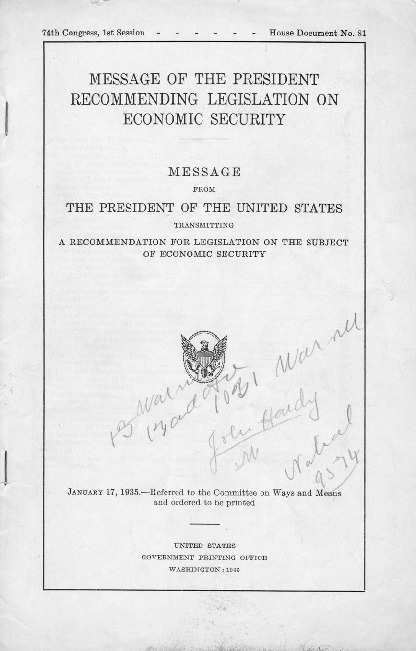 """""""Message of the President Recommending Legislation on Economic Security,"""" January 17, 1935"""