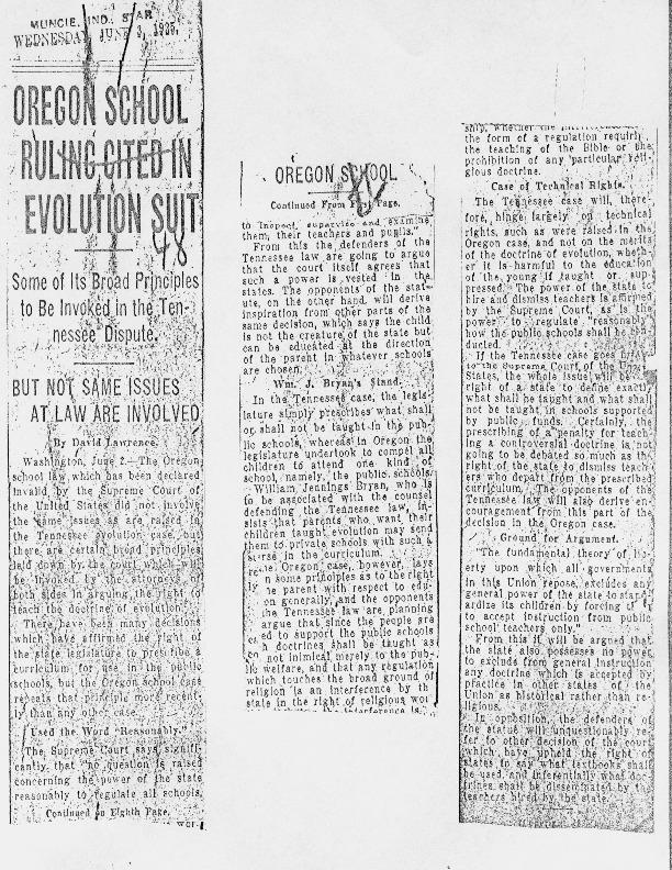 """""""Oregon School Ruling Cited in Evolution Suit,"""" June 3, 1925"""