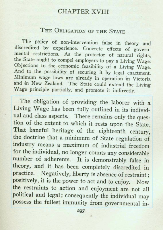 """Obligation of the State"" From A Living Wage, 1906"