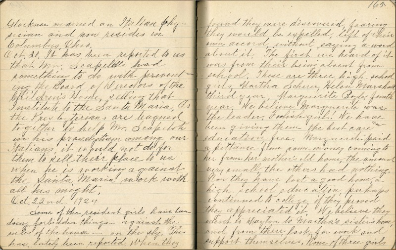 Justina Segale Journal Entry, October 22 and 28, 1924 (Document 24)
