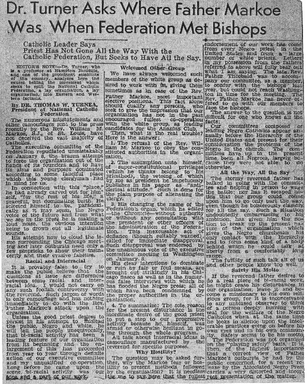 """Thomas W. Turner, """"Editorial from <em>The Afro-American</em>,"""" February 4, 1933"""