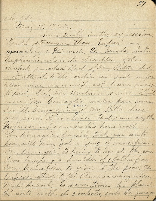 Justina Segale Journal Entry, May 18, 1923 (Document 23)
