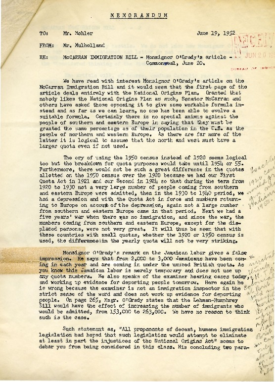 Thomas Mulholland to Bruce Mohler, June 19, 1952; and Bruce Mohler to Thomas Mulholland, June 20, 1952