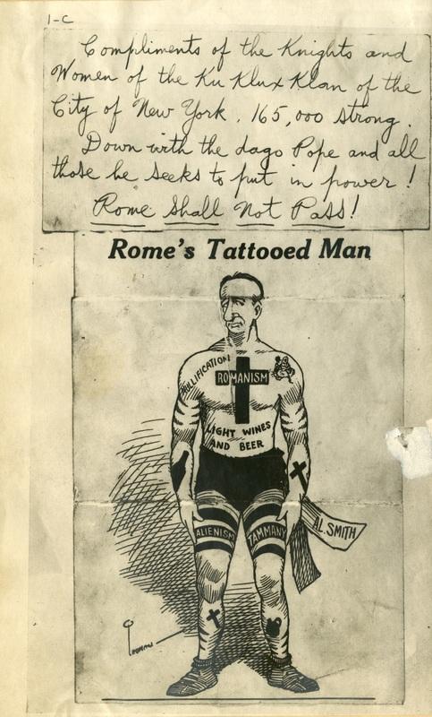 Cartoon-Rum and Romanism, 1928